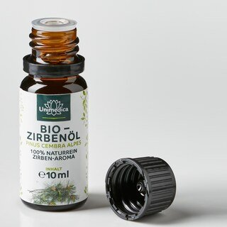 Bio Zirbenöl - 100% naturreines Arvenöl - Zirben-Aroma - ätherisches Öl - 10 ml - von Unimedica - 3 x 10 ml
