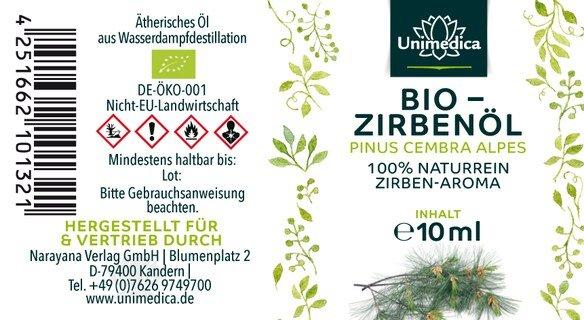 Zirbenöl Bio - 100% naturreines Arvenöl - Zirben-Aroma - ätherisches Öl - 10 ml - von Unimedica - 3 x 10 ml