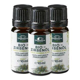 Bio Zirbenöl - 100% naturreines Arvenöl - Zirben-Aroma - ätherisches Öl - 10 ml - von Unimedica - 3 x 10 ml/