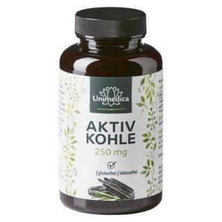 Aktivkohle - 250 mg - 200 Kapseln - von Unimedica