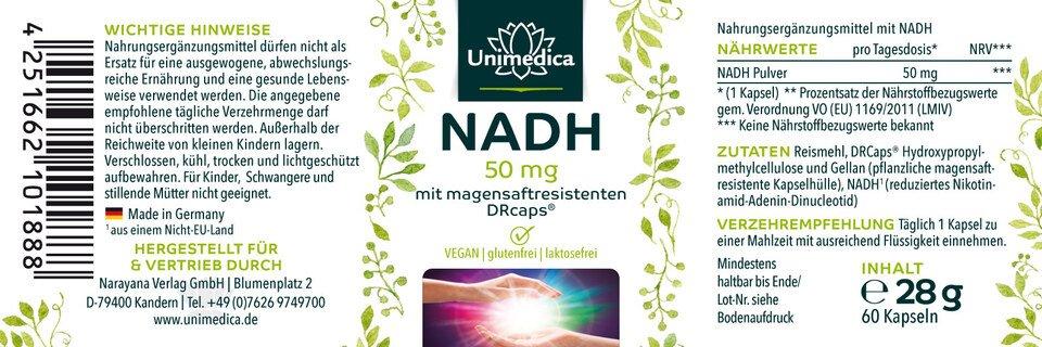 NADH - 50 mg - 60 Kapseln - von Unimedica