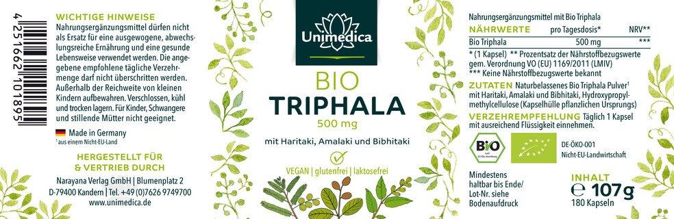 Triphala Bio - 500 mg - 180 gélules - Unimedica