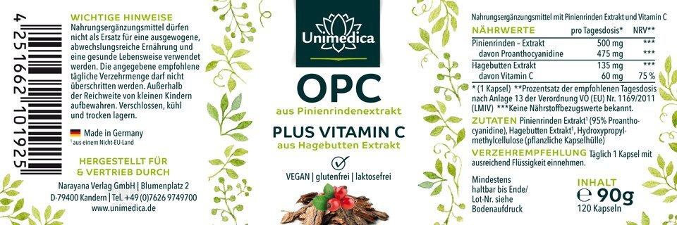 OPC Pinienrinden Extrakt - 500 mg - 120 Kapseln - von Unimedica