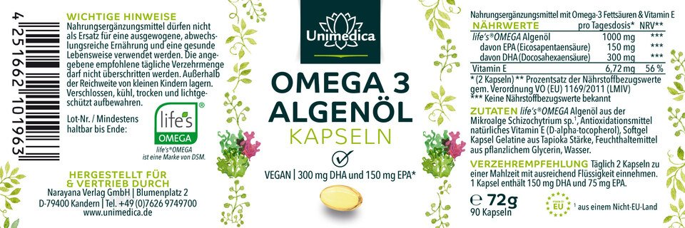 Omega 3 Algenöl Kapseln - mit 300 mg DHA und 150 mg EPA pro Tagesdosis - 90 Kapseln - von Unimedica