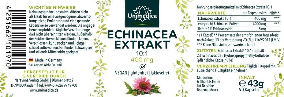 Echinacea Extrakt 10:1 - 400 mg - 90 Kapseln - von Unimedica