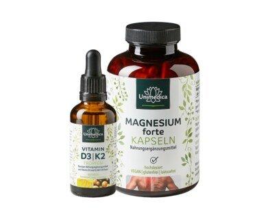 Sparset: Vitamin D3 / K2 MK7 All-trans Tropfen - 50 ml UND - Magnesium forte - 667 mg - 365 Kapseln im Set - von Unimedica/