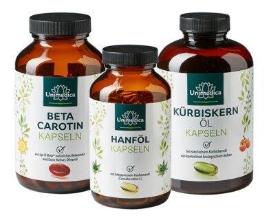 Softgelkapseln im Set: Steirisches Kürbiskernöl / Hanföl - 1.000 mg / - Beta Carotin - 25.000 IE/