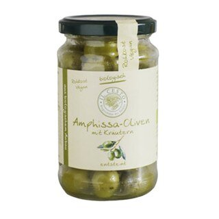 Grüne Amphissa Oliven mit Kräutern, entsteint Bio - 170 g