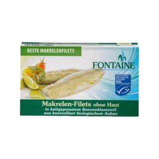 Makrelen-Filets ohne Haut in Bio-Sonnenblumenöl - Fontaine - 120 g