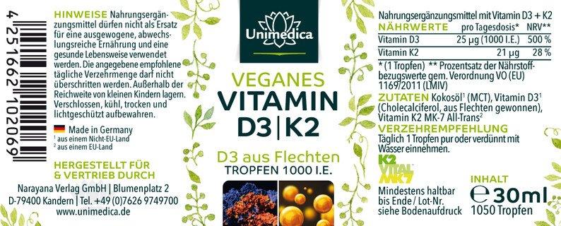 Veganes Vitamin D3 / K2 mit D3 aus Flechten und K2 von Gnosis - 30 ml - von Unimedica