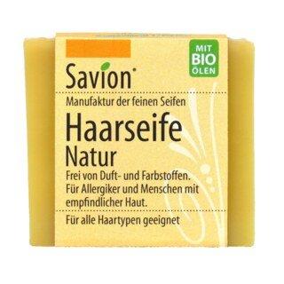 Haarseife Natur - ohne Duftstoffe für alle Haartypen - Savion - 85 g/