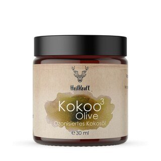 Kosmetisches Mittel -  Kokoo³ Olive - Ozonisiertes Kokosöl + Olivenöl - von HeilKraft Lebenskraft Manufaktur - 30 ml/