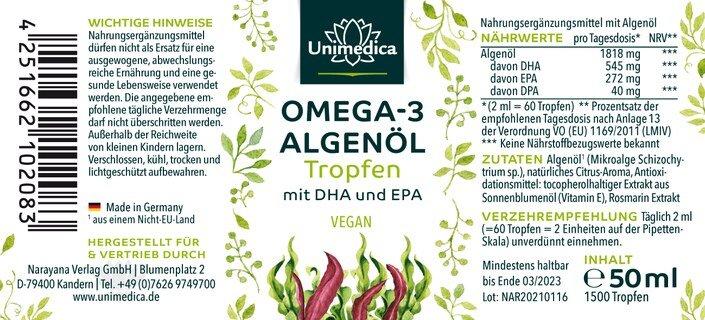 Omega 3 Algenöl Tropfen mit DHA & EPA - 50 ml - von Unimedica