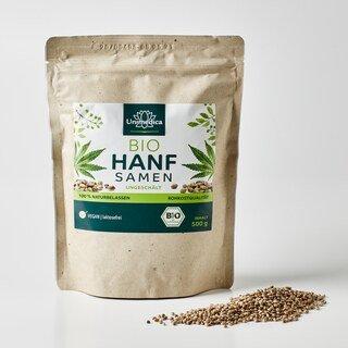Graines de chanvre bio - non décortiquées - naturelles - 500 g - par Unimedica