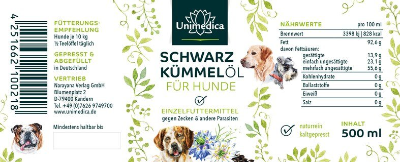Schwarzkümmelöl für Hunde - 500 ml - von Unimedica - Sonderangebot kurze Haltbarkeit