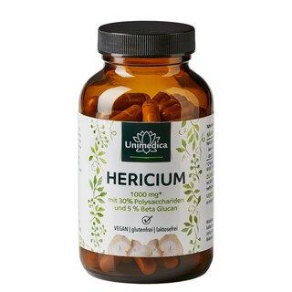 Hericium Extrakt - 1000 mg pro Tagesdosis - mit 30% Polysacchariden und 5% Beta Glucan - 120 Kapseln - von Unimedica/