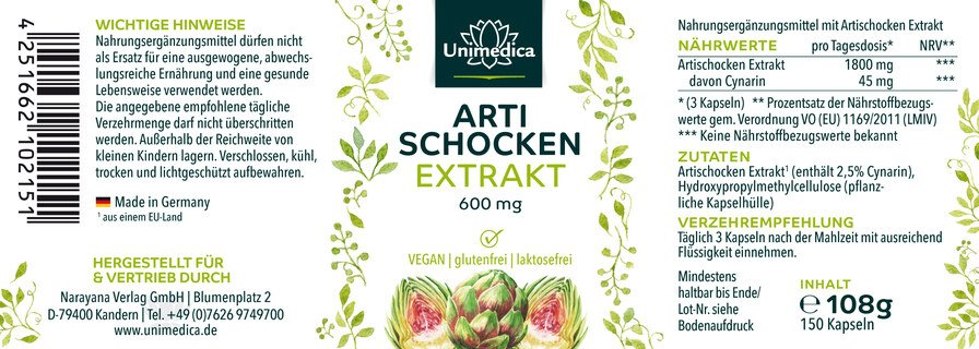 Artischocken Extrakt - 600 mg - 150 Kapseln - von Unimedica