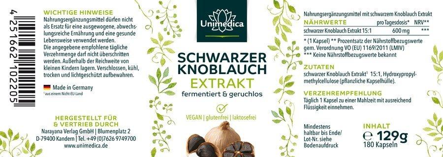 Schwarzer Knoblauch - 600 mg  - von Unimedica