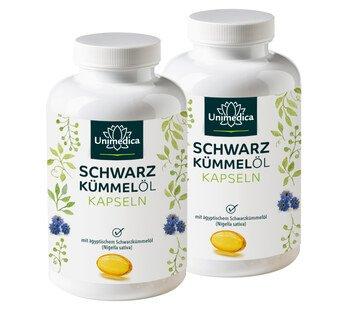 Set: 2x Schwarzkümmelöl Softgelkapseln 500 mg - 400 Softgelkapseln - von Unimedica/