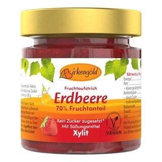 Xylit - Fruchtaufstrich Erdbeere - Birkengold - 200 g/