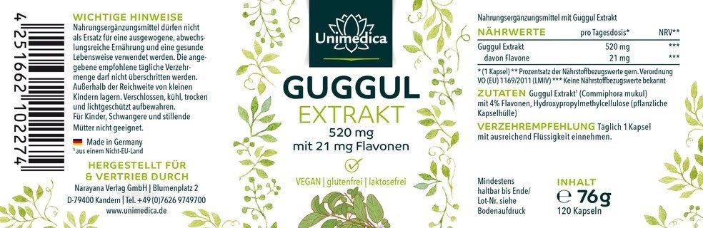 Guggul Extrakt - 520 mg - mit 4% Flavone - 120 Kapseln - von Unimedica