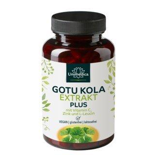 Extrait de gotu kola 6:1 Plus  avec de la vitamine C, du zinc et de la L-leucine - 120 gélules - par Unimedica/
