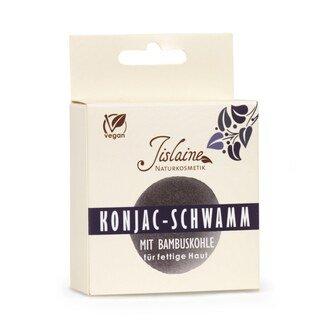 Konjac - Schwamm mit Bambuskohle - Jislaine Naturkosmetik -/