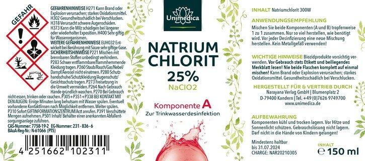 Natriumchlorit 25 % + Salzsäure 4 % - Set 2 x150 ml - von Unimedica