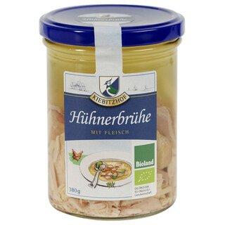 Hühnerbrühe mit Fleisch Bio - Kiebitzhof - 380 ml/