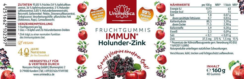 Immun Holunder Zink - Fruchtgummis - 40 Gummis - von Unimedica