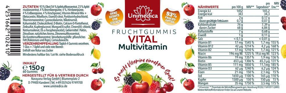 Vital - Multivitamin - Fruchtgummis - 60 Gummis - von Unimedica