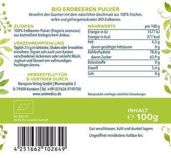 Bio Erdbeeren Pulver - naturrein - 100g - vegan -  von Unimedica