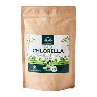 Bio Chlorella - 500 Tabletten mit je 500 mg reinem Chlorella Pulver -  laborgeprüft und naturrein - von Unimedica/