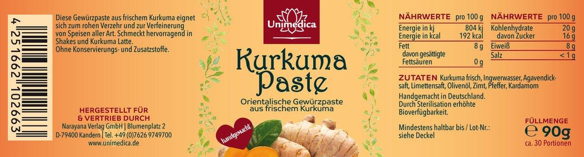 Bio Kurkuma Paste - 90g - von Unimedica