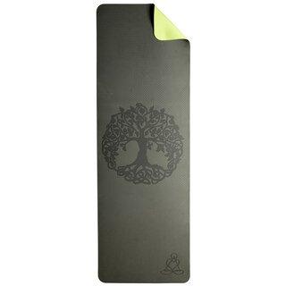 Yoga Matte dunkelgrün-hellgrün mit Baum des Lebens - Berk