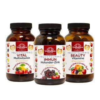 Set - Fruchtgummi - Immun Holunder Zink + Beauty Vitamine + Vital - Multivitamin von Unimedica/