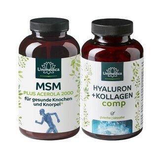 Set: Gelenk in Topform - MSM 2.000 plus Acerola - 365 Tabletten und Hyaluron + Kollagen comp - mit Vitaminen und Mineralien - 180 Kapseln/