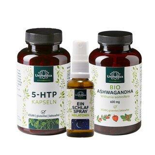 3er Unimedica Set: Einschlafspray - Melatonin und 5-HTP Kapseln - 100 mg - 180 Kapseln und BIO Ashwagandha 180 Kapseln 600 mg hochdosiert/