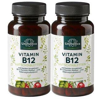 Doppelpack: 2x Vitamin B12 - 100 Lutschtabletten - von Unimedica/