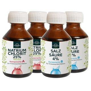 2x Chlorite de sodium 25% + acide chlorhydrique 4% Ph.Eur. - Lot de 2 x150 ml/