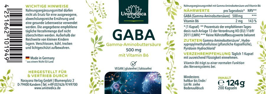 2er-Sparset: GABA - 500 mg - 200 Kapseln - von Unimedica