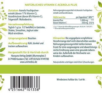 Spar Set - OPC forte - 800 mg Traubenkernextrakt pro Tagesdosis - 180 Kapseln und Natürliches Vitamin C Acerola Plus - 25% Vitamin C - 200 g - von Unimedica