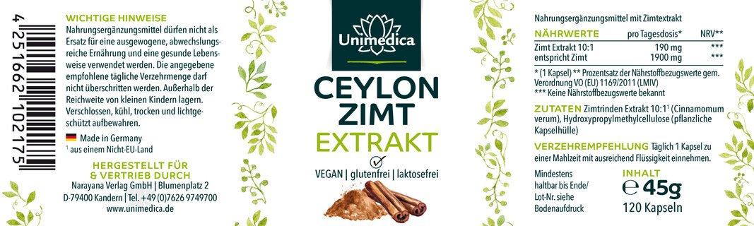 2er Sparset: Ceylon Zimt Extrakt 10:1 - 120 Kapseln - von Unimedica