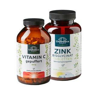 Sparset: Vitamin C gepuffert - 500 mg - 365 Kapseln UND - Zink Bisglycinat - 25 mg hochdosiert - 365 Tabletten im Set - von Unimedica/