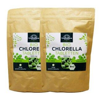 2er-Sparset: 2x Bio Chlorella - 500 Tabletten mit je 500 mg reinem Chlorella Pulver -  laborgeprüft und naturrein - von Unimedica/