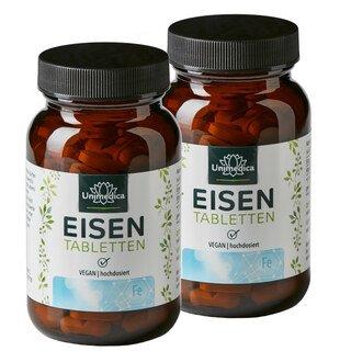 2er-Sparset: Eisen Bisglycinat 40 mg und 40 mg Vitamin C - hochdosiert - 240 Tabletten - von Unimedica/