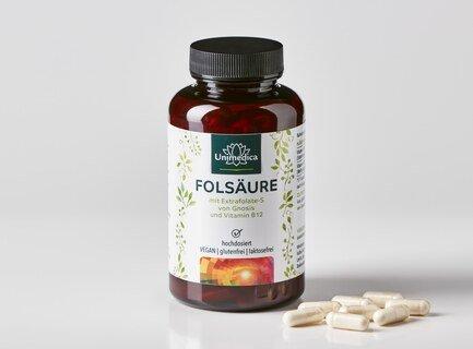 2er-Sparset: Folsäure mit Extrafolate S von Gnosis und Vitamin B12 - 800µg Folsäure und 25 µg Vitamin B12 - 360 Kapseln - von Unimedica