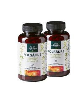 Lot de 2: Acide folique avec Extrafolate-S de Gnosis et vitamine B12 - 800 µg d'acide folique et 25 µg de vitamine B12  - 360 gélules - par Unimedica/