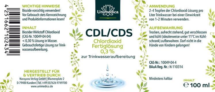 2 parties: Solution de dioxyde de chlore CDL/CDS 0,3 % prête à l'emploi - 200 ml  d'Unimedica