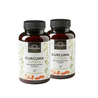 2er-Sparset: Curcuma mit Piperin - 300 mg Curcumin und 10 mg Piperin - 180 Kapseln - von Unimedica/